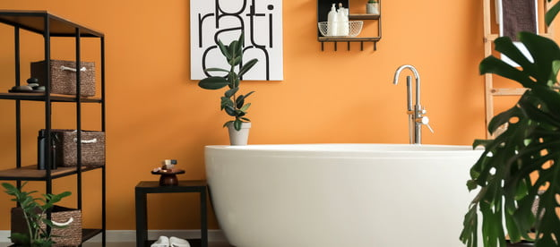 bathroom with orange walls
