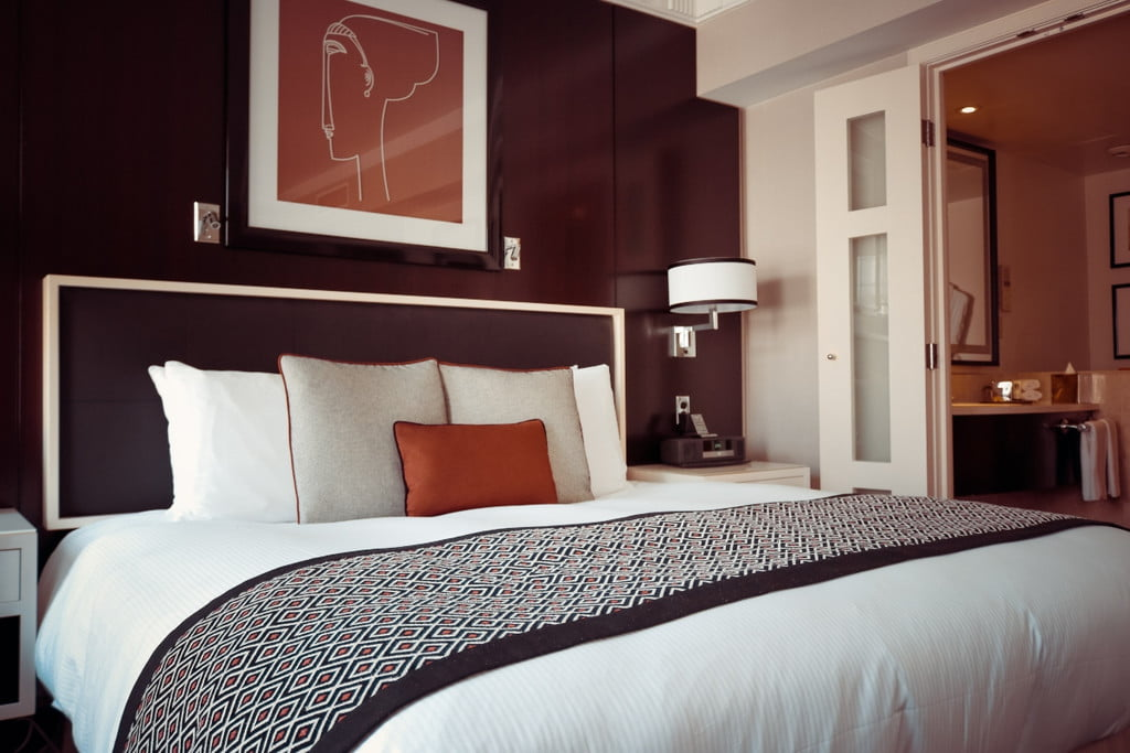 bedroom with a black accent wall