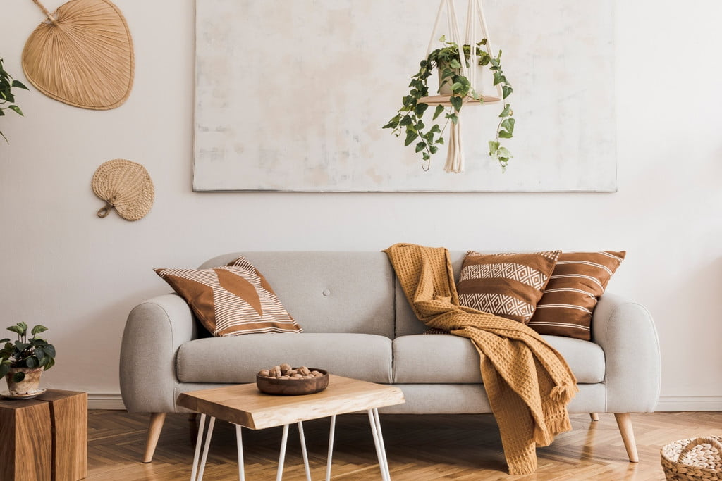 bohemian living room with neutral colored decor