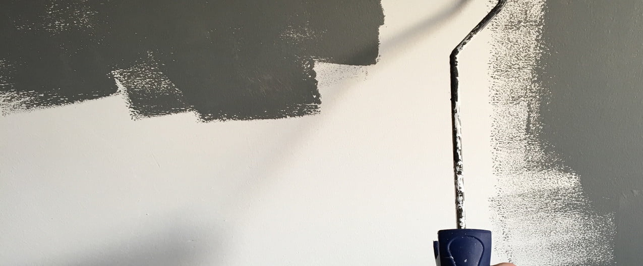 A light-skinned hand holds up a paint roller in front of a wall that is half grey, half white.
