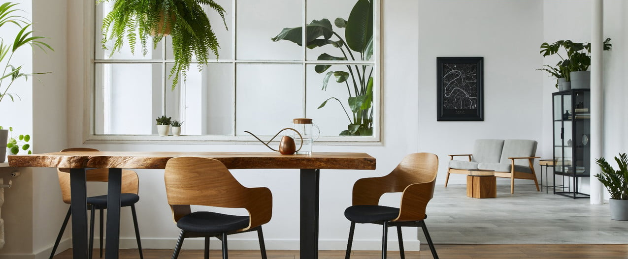 Dining room with mirror