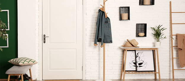 entryway with shelves