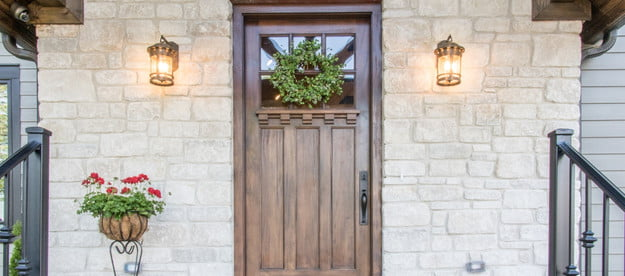 front porch with wall lantern lighting