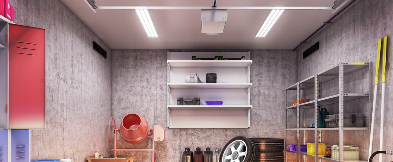 A clean garage interior with storage