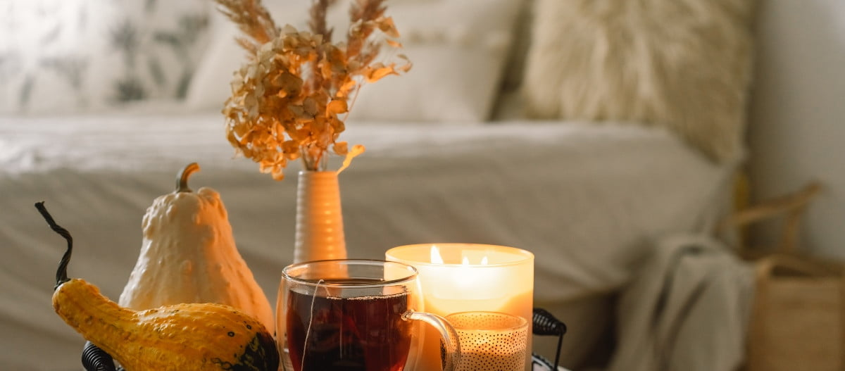hygge fall decor with candle and tray