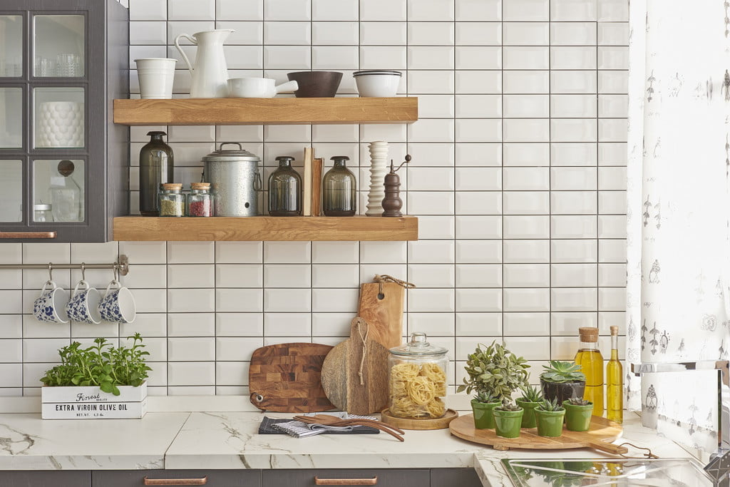 kitchen with subway tiles and dark grout