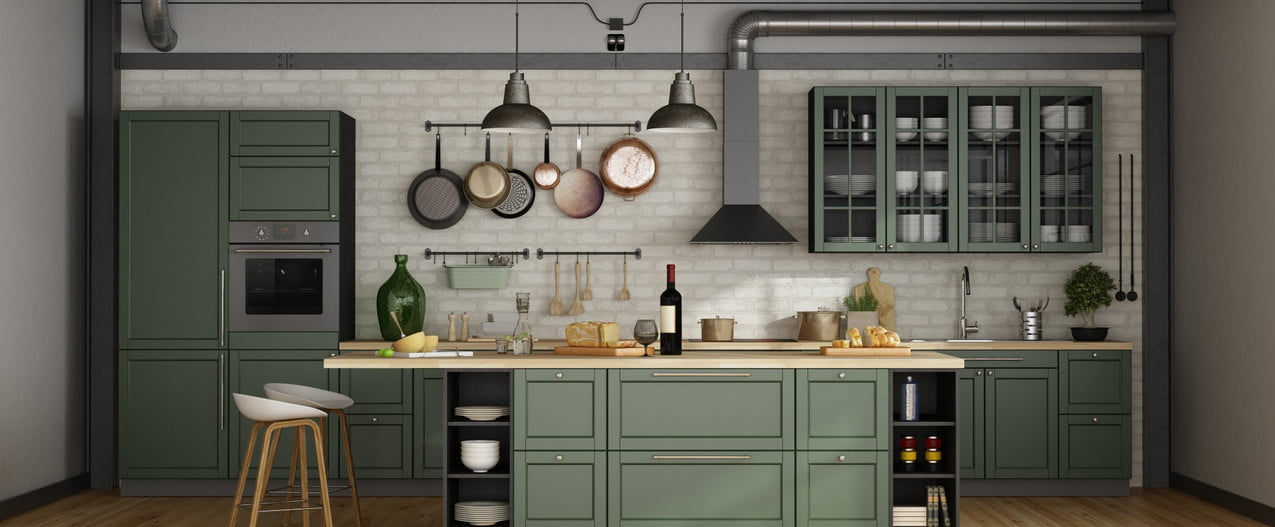 green kitchen ideas with cabinets