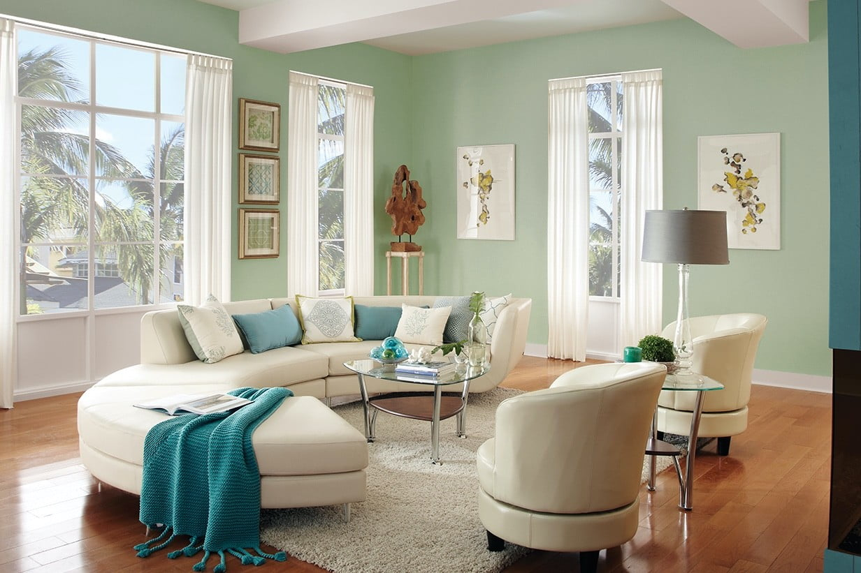 Living room with light-green walls