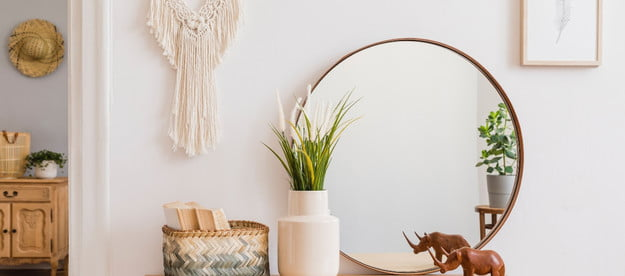 mirror and green plant on entry way table
