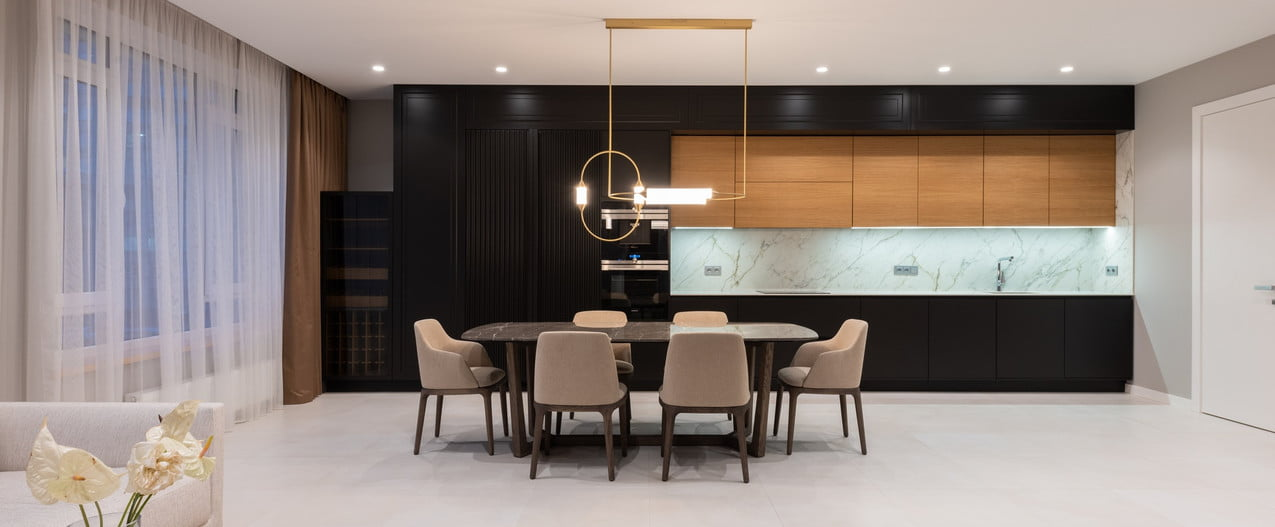 can ceiling lights above modern dining area