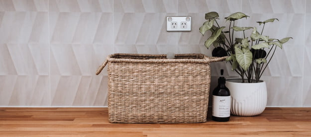 A snapshot at a clean and lovely laundry room.