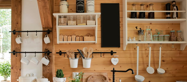 Rustic kitchen with open shelves