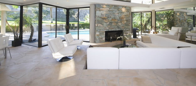 white-sunken-living-room-with-fireplace