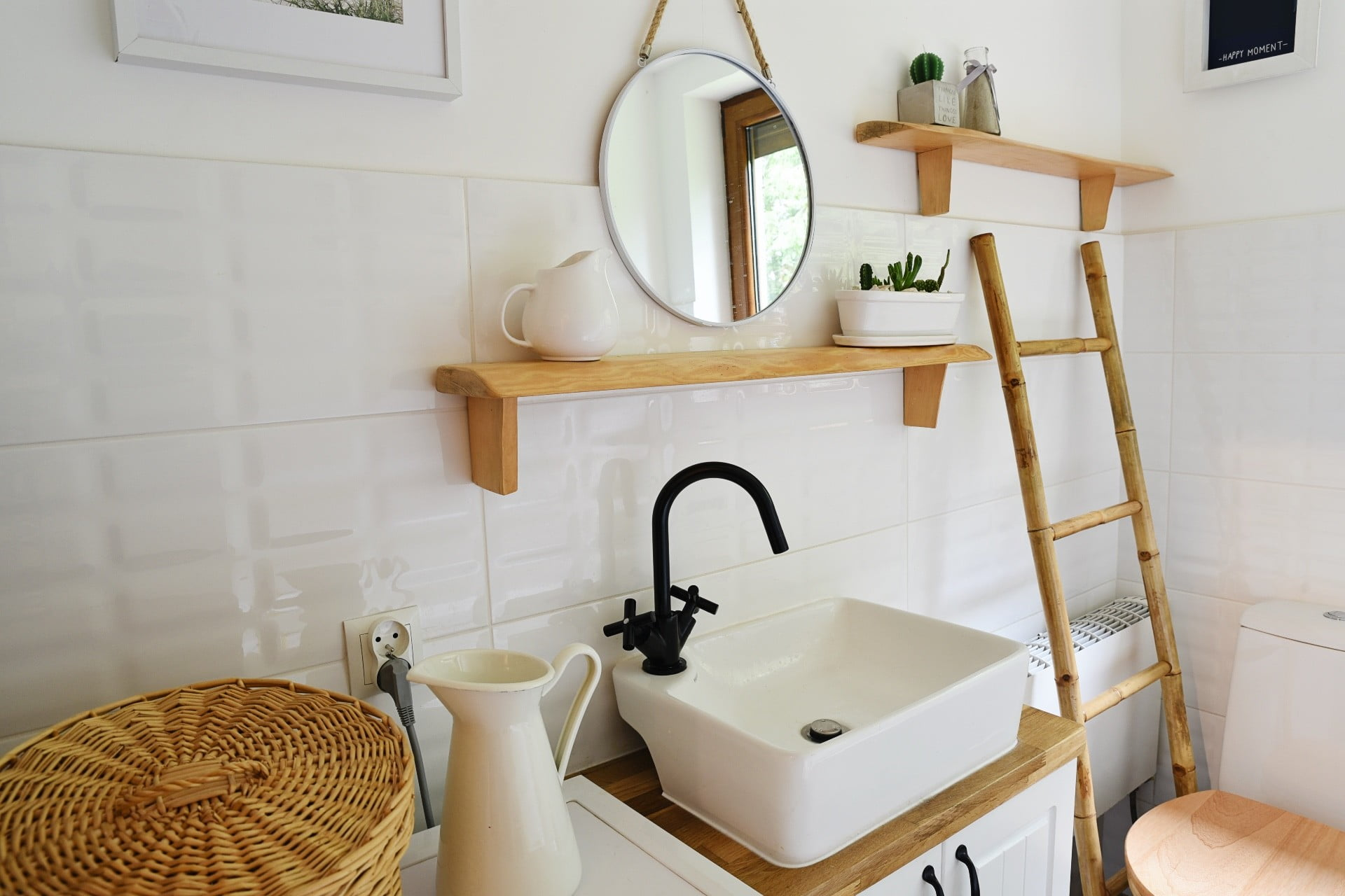 vintage bathroom with sink and shelves