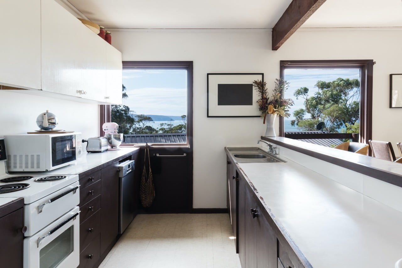two-tone galley kitchen