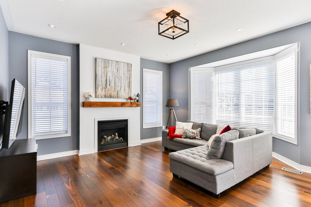 living room with gray walls