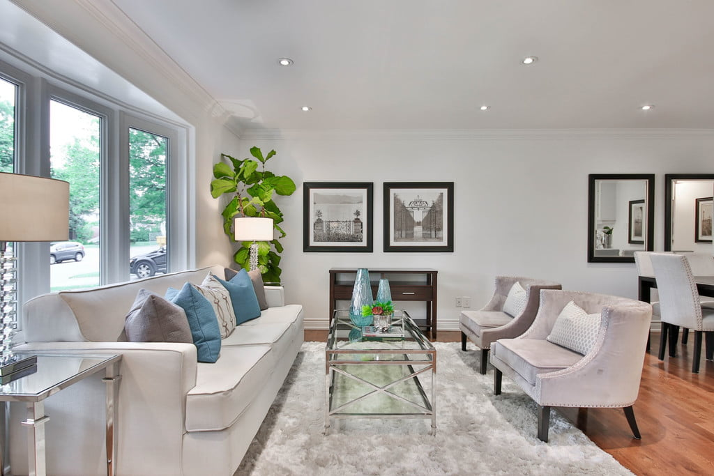 staged neutral living room
