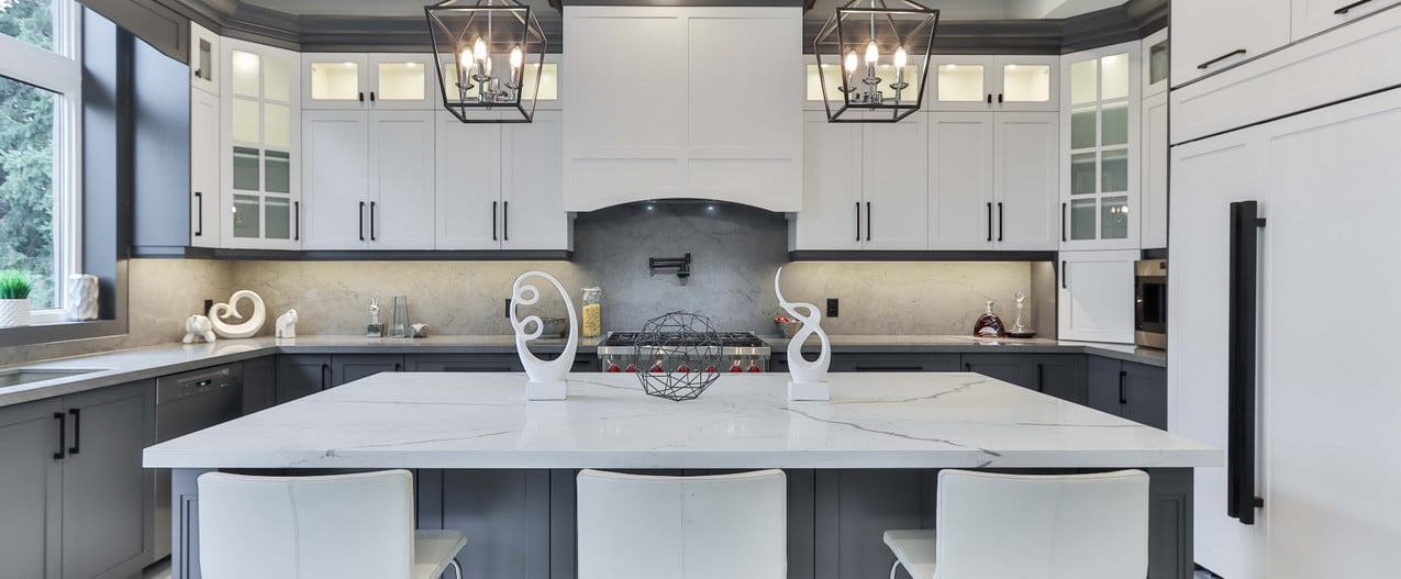 modern kitchen with painted trim