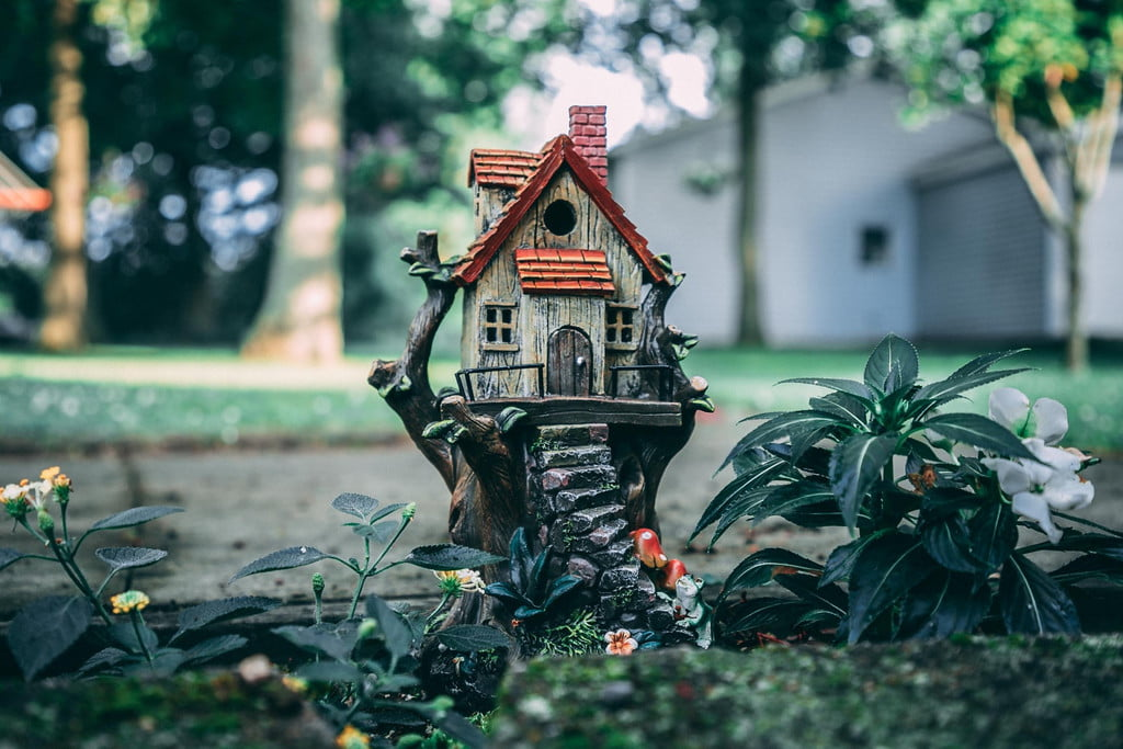 picture of a tiny birdhouse in garden