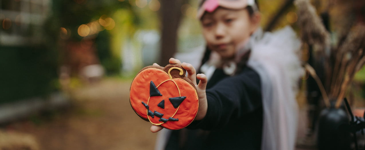 Asian kid going trick-or-treating