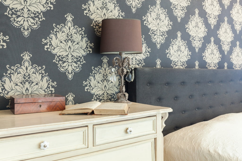 blue and white vintage wallpaper in bedroom