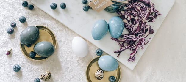Natural blue food coloring made of red cabbage used to dye eggs