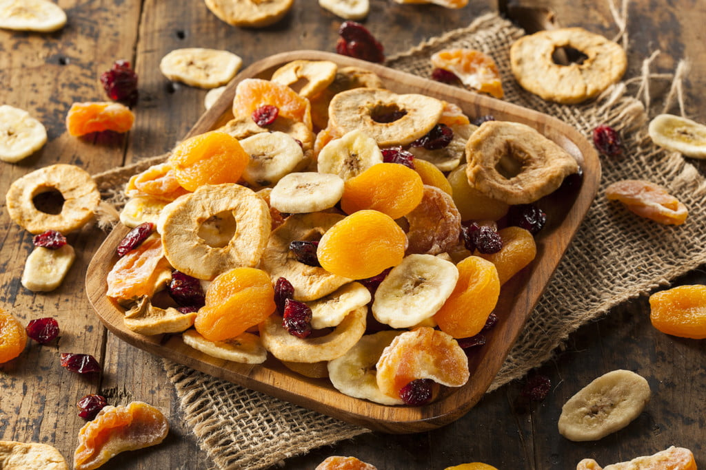 a plate of mixed dried fruit