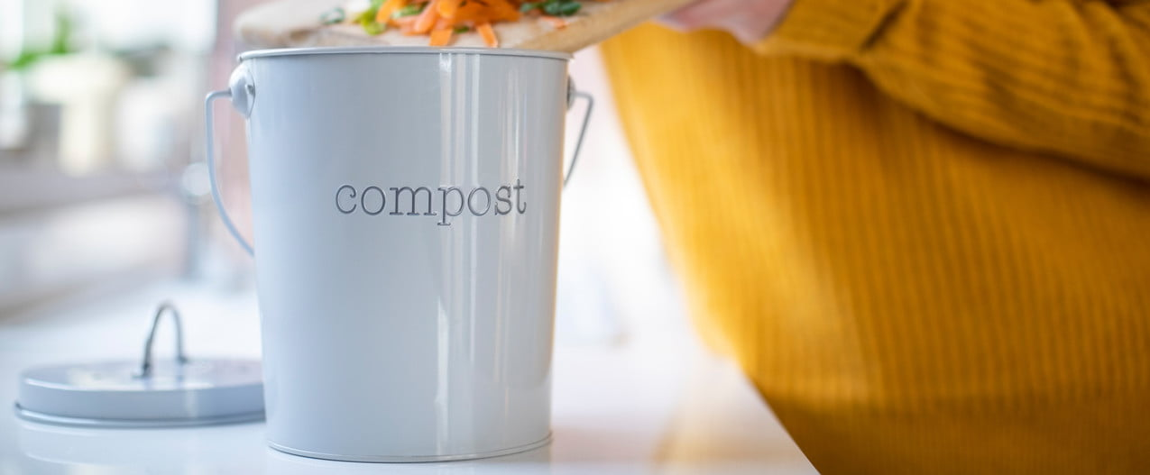 Person adding vegetable scraps to a compost container