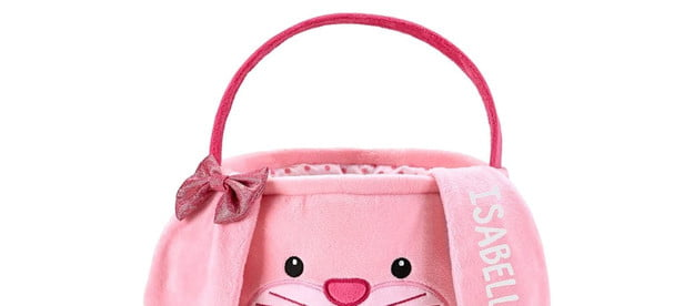 An Easter basket decorated as a pink bunny