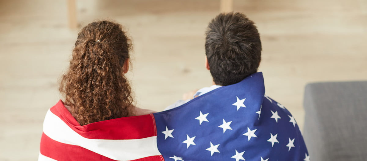 Couple watching a movie on the Fourth of July