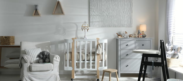 A high chair in a nursery