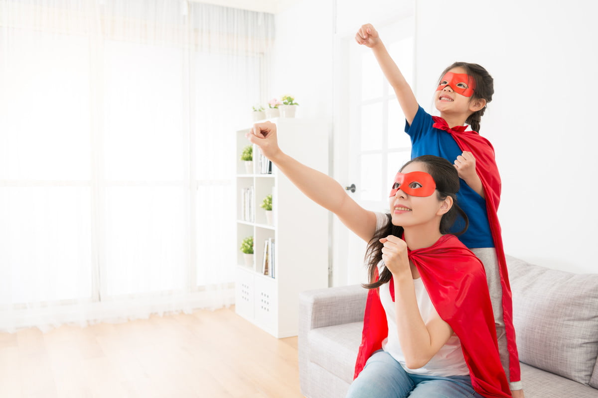 Mom and daughter superhero