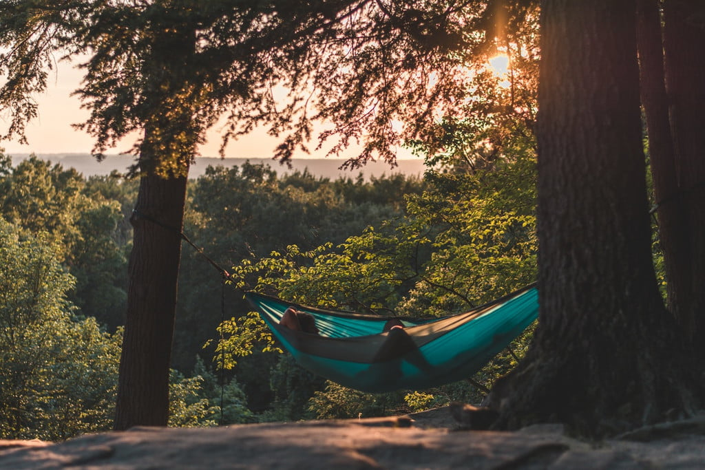 man in a hammock on a wooded hilltop