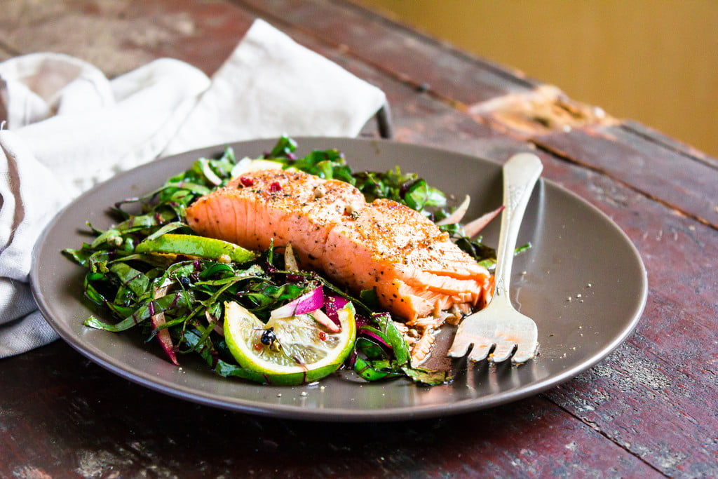 plate of salmon and vegetables