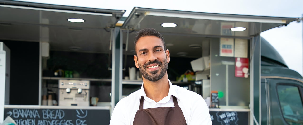 Cheerful food-truck owner