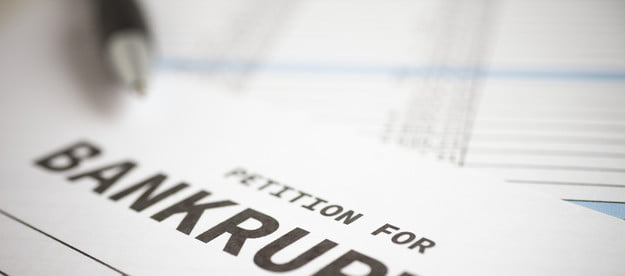 Bankruptcy petition on a table