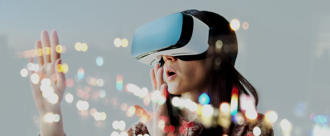 Woman works in virtual reality